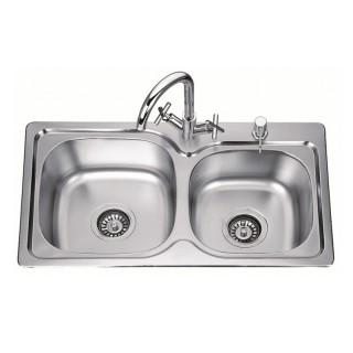 Двойна кухненска мивка от алпака ICK S7639P