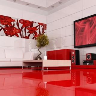 Urban серия - колекция плочки за баня в бял и червен цвят с флорални мотиви