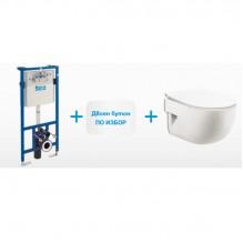 Окачена тоалетна MERIDIAN + структура и бутон DUPLO + седалка и капак Slim