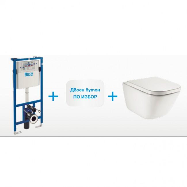 Окачена тоалетна GAP SQUARE RIMLESS + структура  и бутон DUPLO + седалка и капак