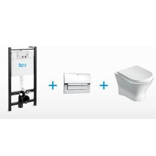 Окачена тоалетна NEXO със структура, бутон, седалка и капак