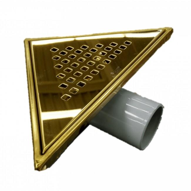 Триъгълен сифон за баня – златен