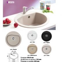 Кръгла кухненска мивка от силгранит X VESTA