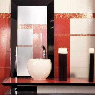 Metaphor rojo серия - колекция плочки за баня с флорални фризове