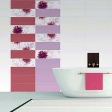 Silk freja Beatrice - колекция плочки за баня в бяло, розово и лилаво с флорални мотиви