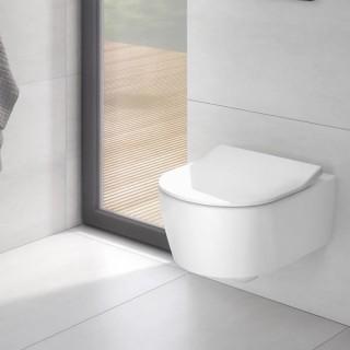 Конзолна  тоалетна чиния с капак със забавено падане слим (5656RS01)