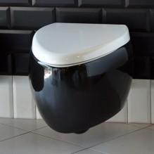 Стенна тоалетна чиния Moai 8604 комбинация черно и бяло и капак Soft Close