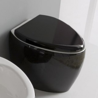 Стояща  тоалетна чиния Moai 8606 в бяло и черно