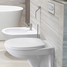 Структура за вграждане Pestan Fluenta + тоалетна чиния Fluenta + бял керамичен бутон